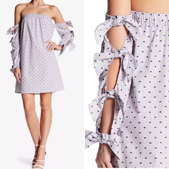 e198fa88324403 Cynthia Steffe Dresses | Cece Off Shoulder Shift Dress Swiss Dots ...